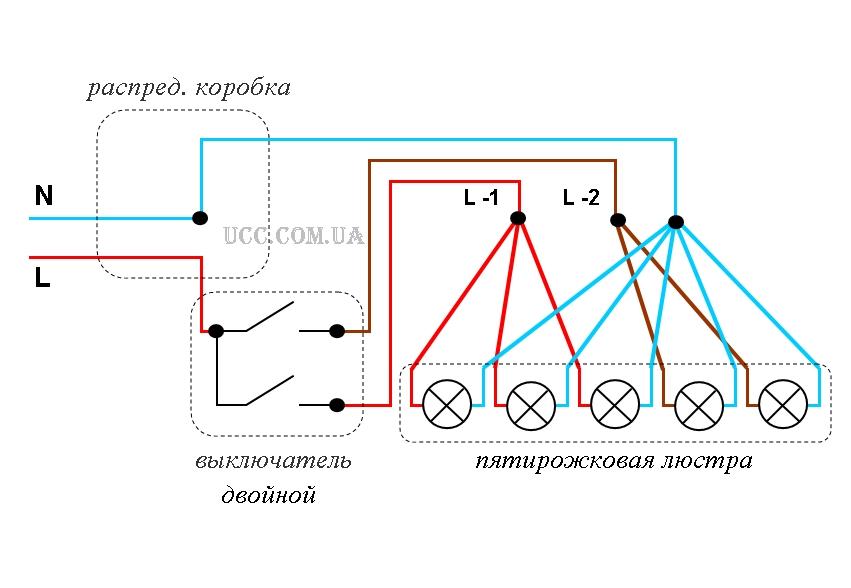 Схема подключения люстры на 4 лампочки